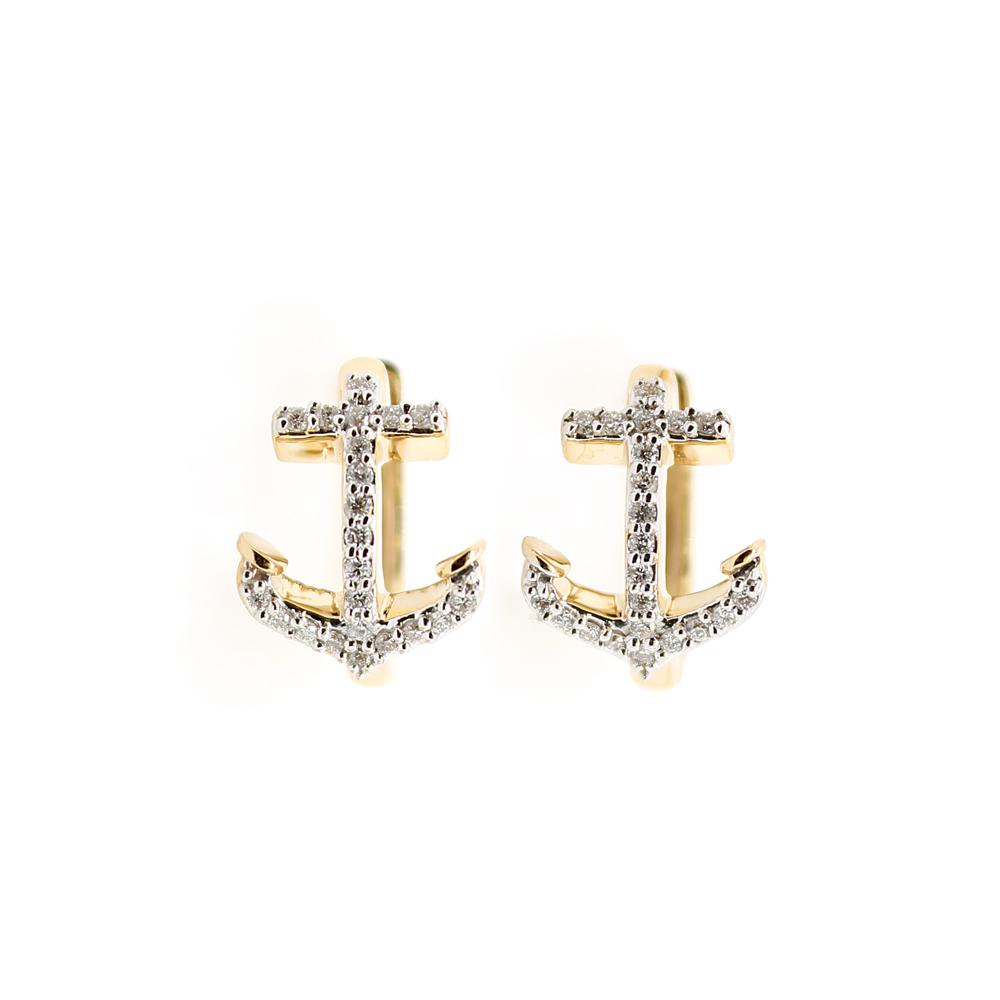 Shefi Diamonds 14 Karat Yellow and White Gold Hinged Anchor Diamond Hoop Earrings