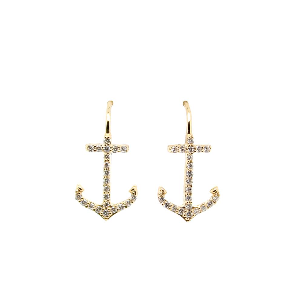 Shefi Diamonds 14 Karat Yellow Gold Diamond Anchor Earrings