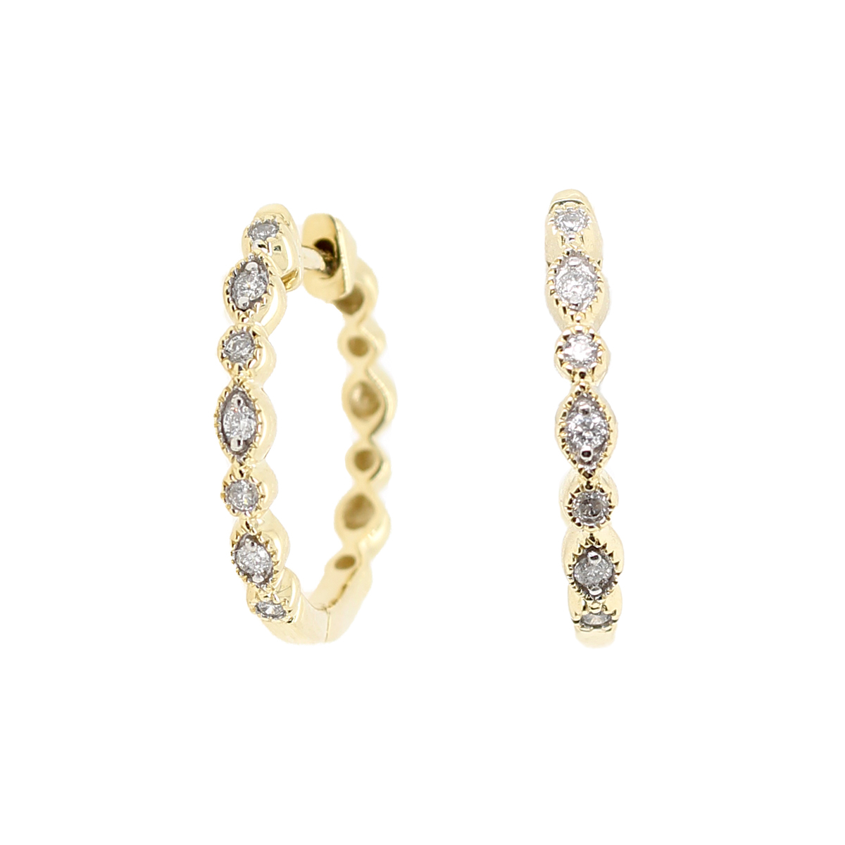 10 Karat Yellow Gold Marquise Diamond Hoop Earrings