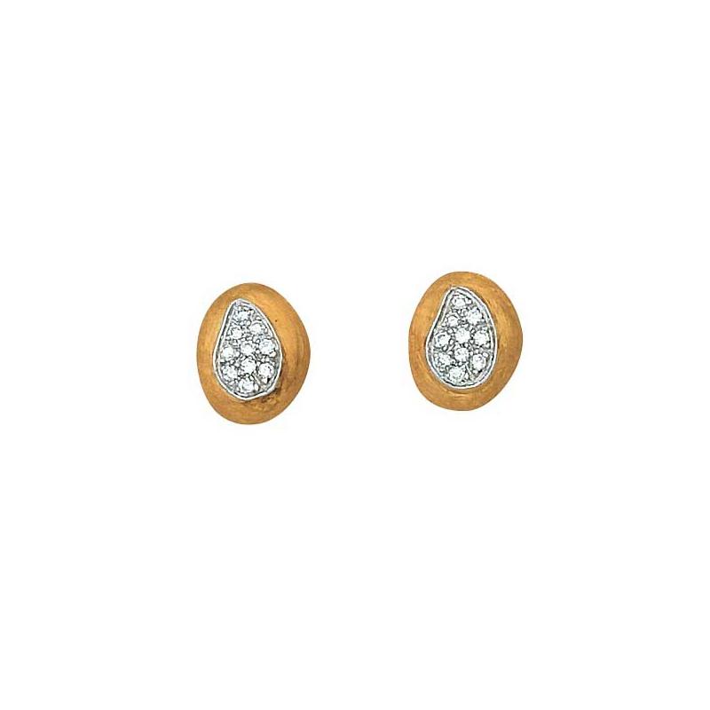 Marco Bicego 18 Karat Two Tone Confetti Isola Nugget Diamond Studs