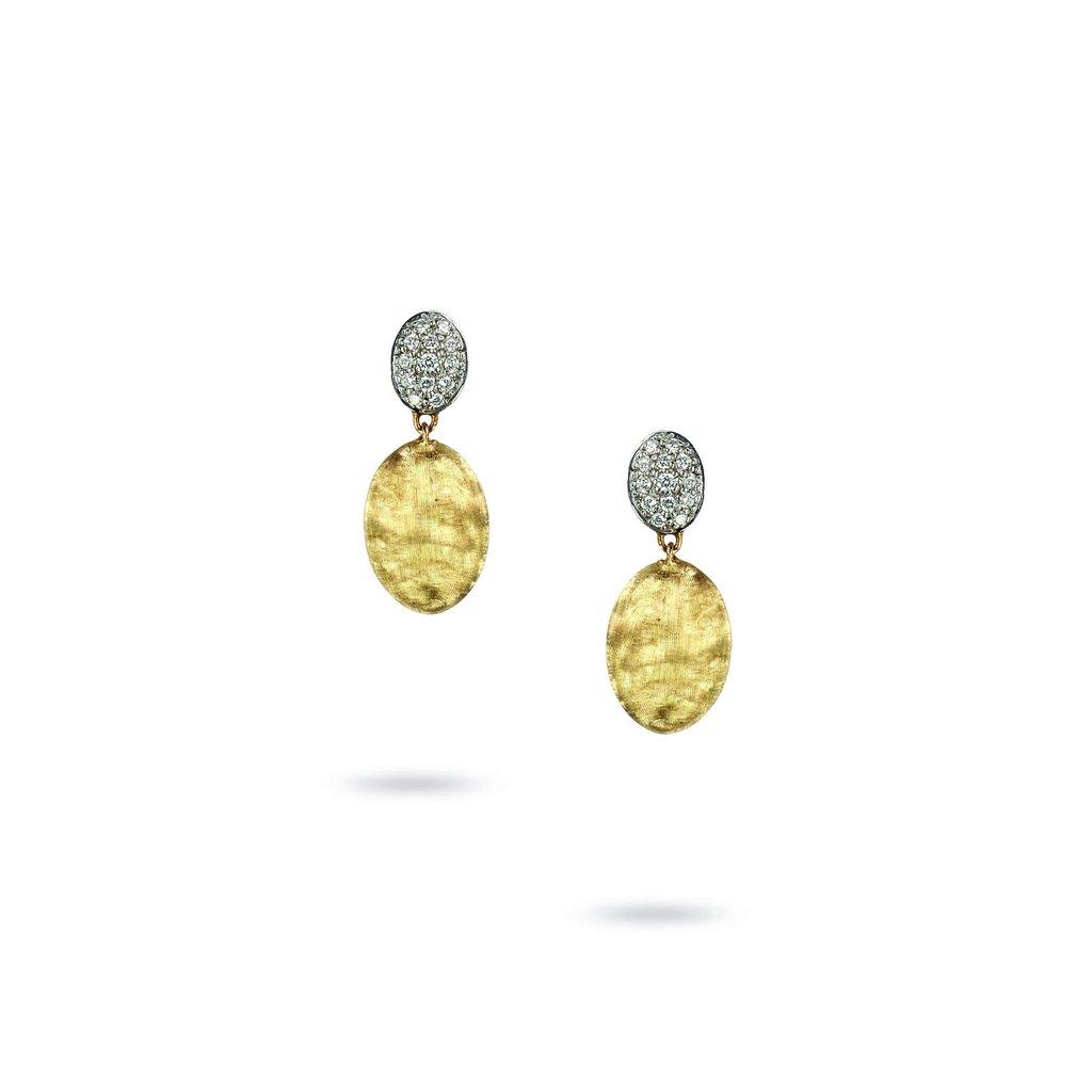 Marco Bicego 18 Karat Yellow and White Gold Siviglia Two Dangle Diamond Earring