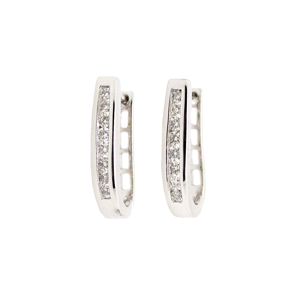 Shefi Diamonds 14 Karat White Gold Diamond J Hoop Huggie Earrings (.5 Carat)
