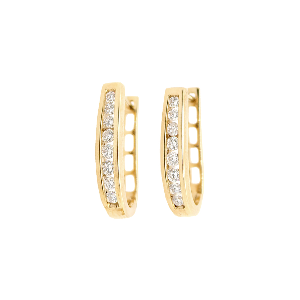 Shefi Diamonds 14 Karat Yellow Gold Diamond J Hoop Huggie Earrings (.5 Carat)