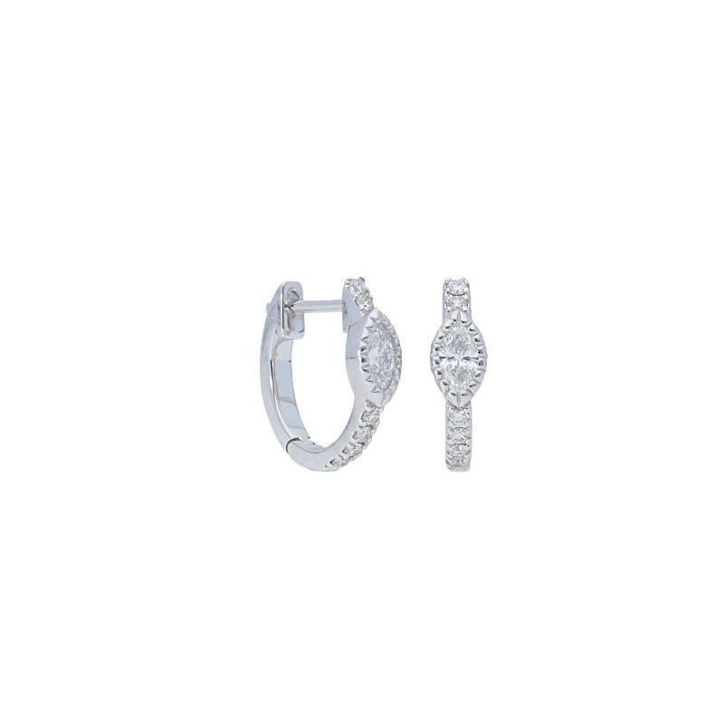 Beny Sofer 14 Karat White Gold Marquise and Full Cut Diamond Hoop Earrings