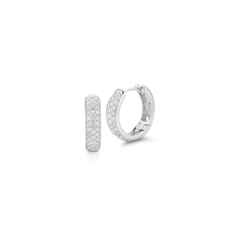 Beny Sofer 14 Karat White Gold Pave Set Diamond Huggie Hoop Earrings