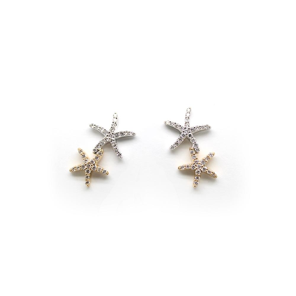 Shefi Diamonds 14 Karat Yellow and White Gold Diamond Double Starfish Earrings (.5 Carat)
