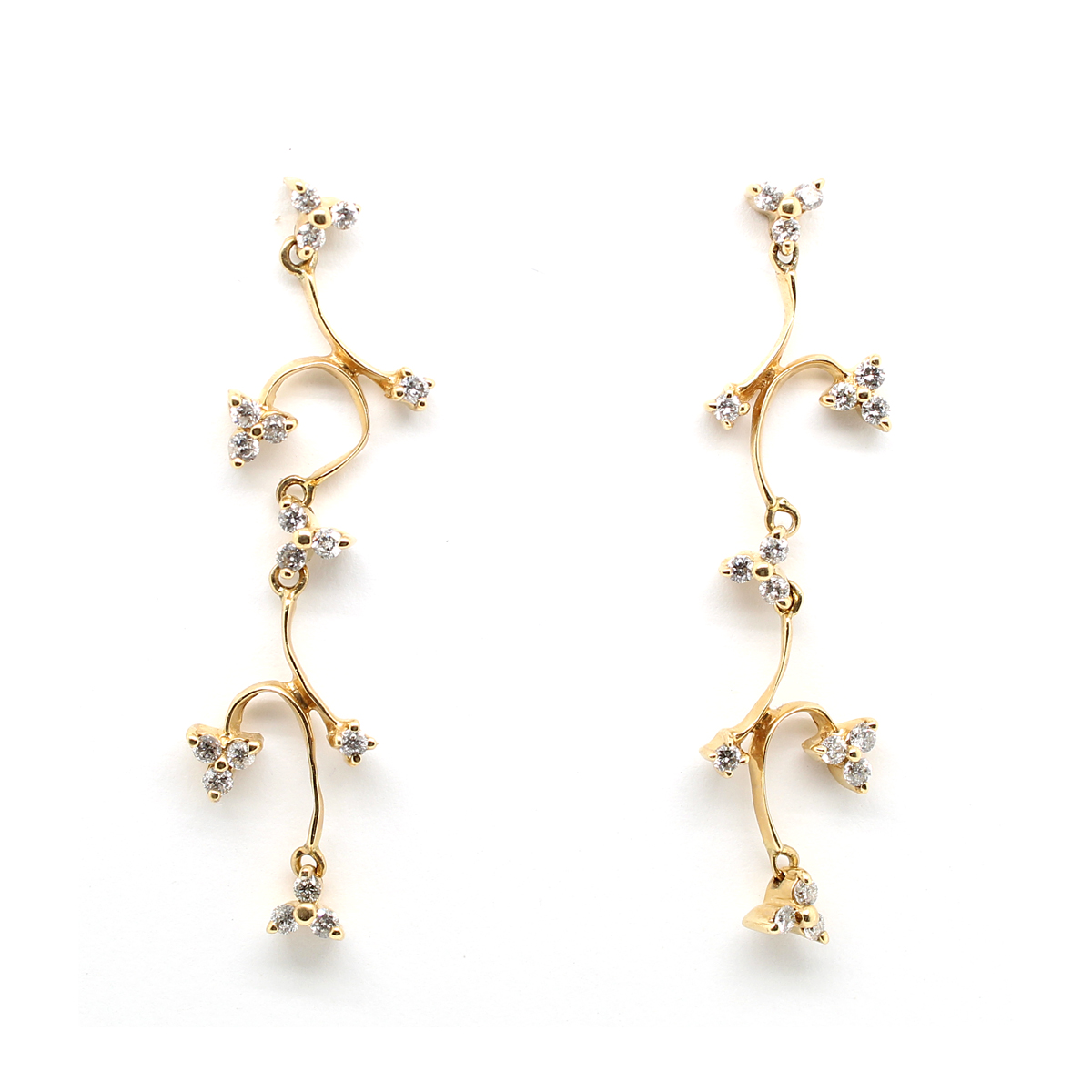 Ryan Gems 14 Karat Yellow Gold Diamond Vine Dangle Earrings
