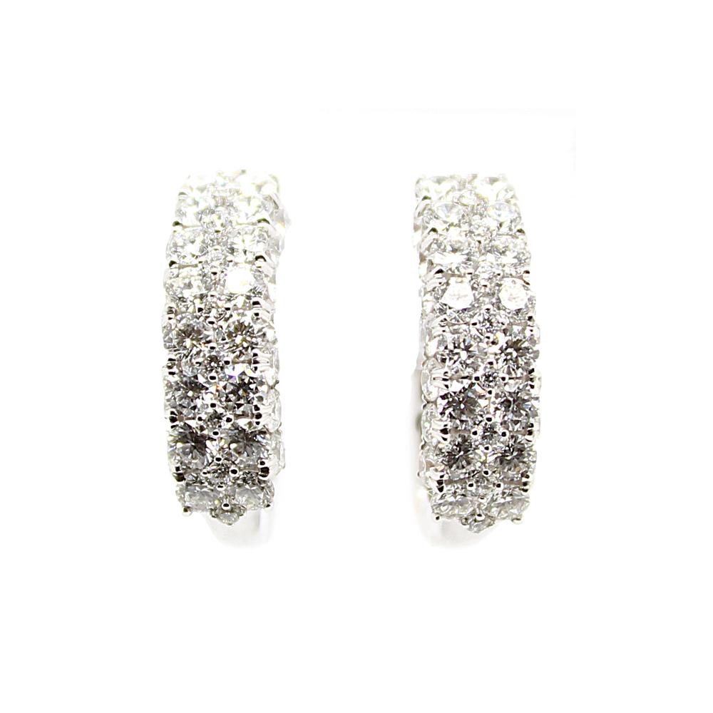 Amden Jewelry Seamless Collection 18 Karat White Gold Hinged Hoop Diamond Earrings