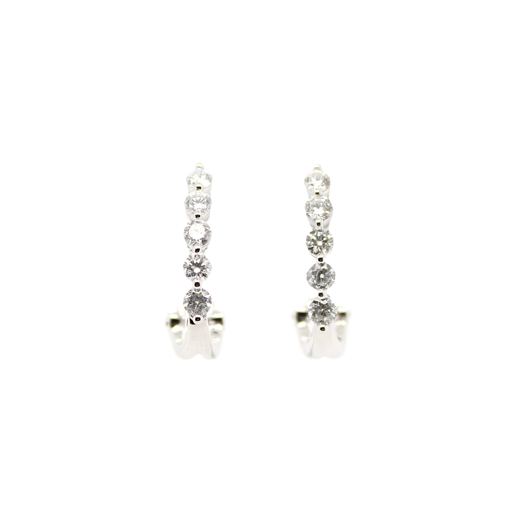 Shefi Diamonds 14 Karat White Gold Diamond J Hoop Earrings (1 Carat)