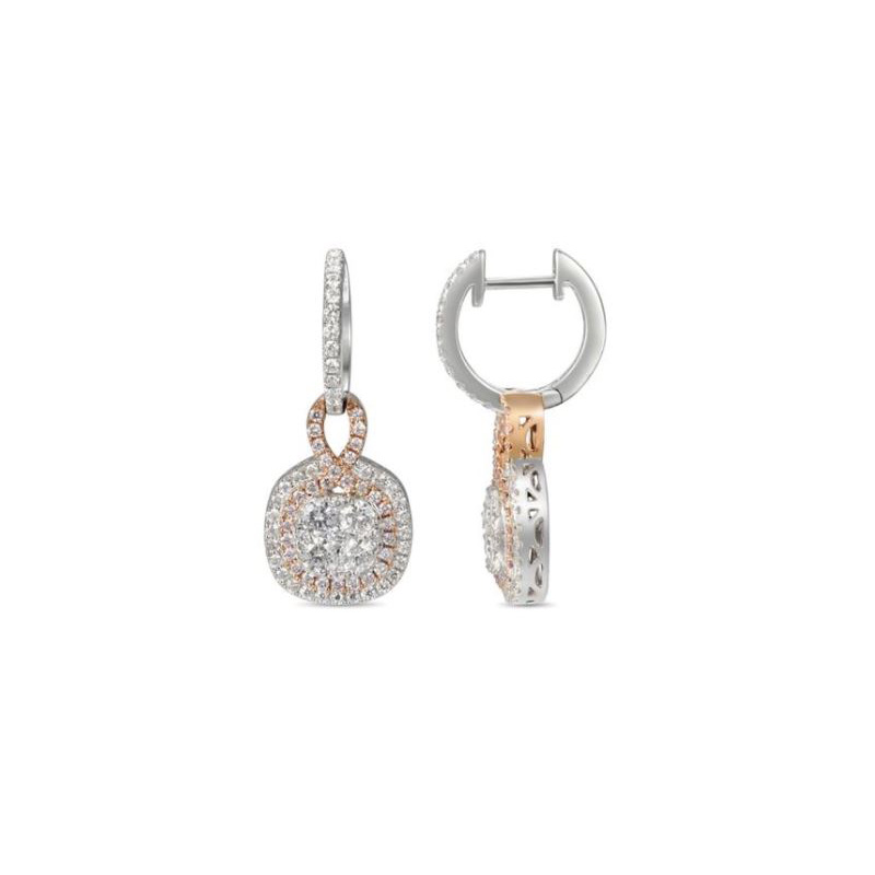Gregg Ruth 18 karat white gold, white and natural pink diamond dangle earrings.