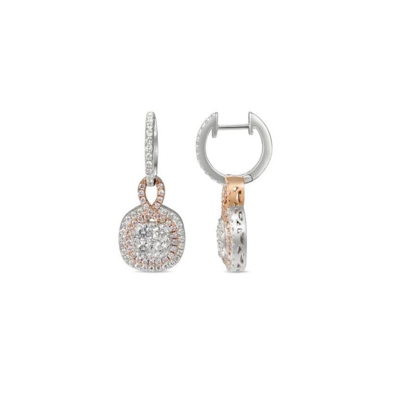 Gregg Ruth 18 karat white gold, white and natural pink diamond dangle earrings.