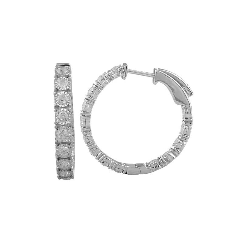 Paramount Gems 14 Karat White Gold Inside Out Diamond Hoop Earrings