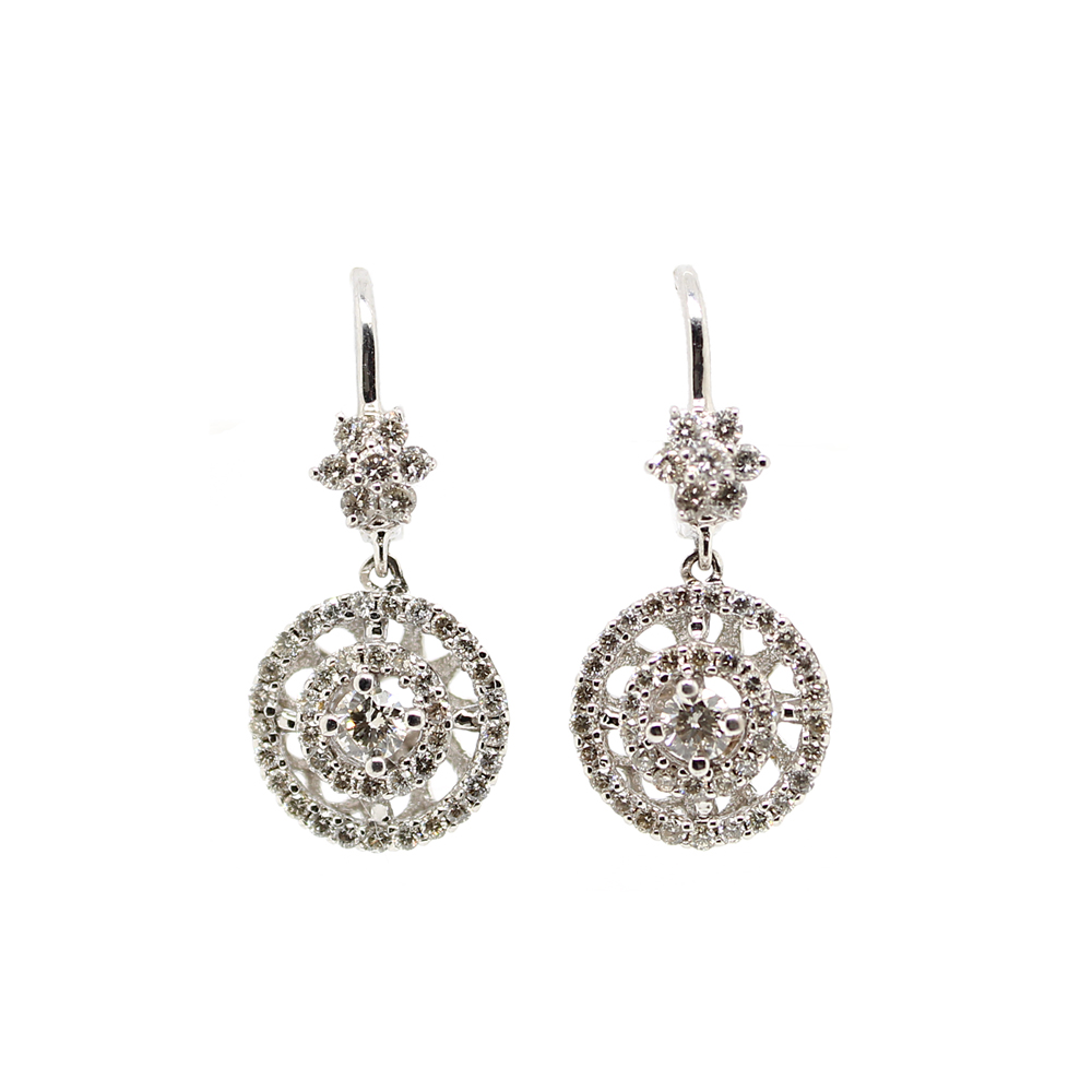 Ryan Gems 14 Karat White Gold Diamond Circle Dangle Earrings