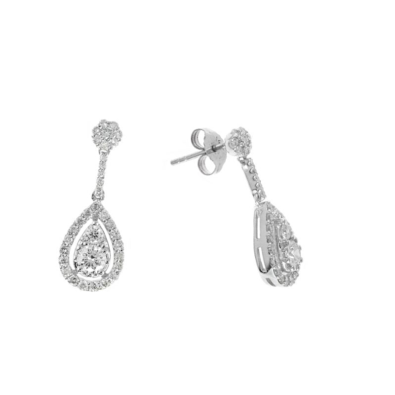 Ryan Gems 14 Karat White Gold Diamond Dangle Earrings