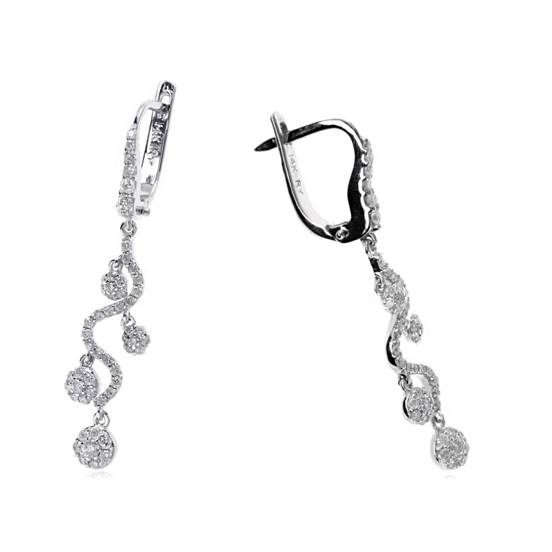 Ryan Gems 14 Karat White Gold Wavy Strand Earrings