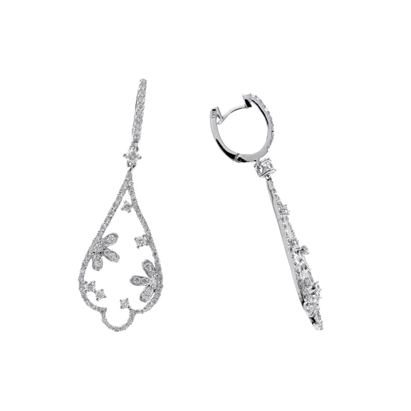 Ryam Gems 14 Karat White Gold Diamond Floral Dangle Earrings