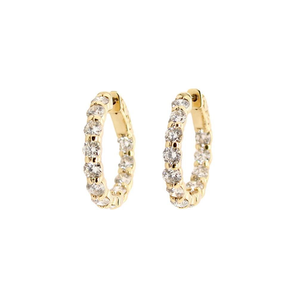 Paramount Gems 14 Karat Yellow  Gold Inside Out Diamond Hoop Earrings