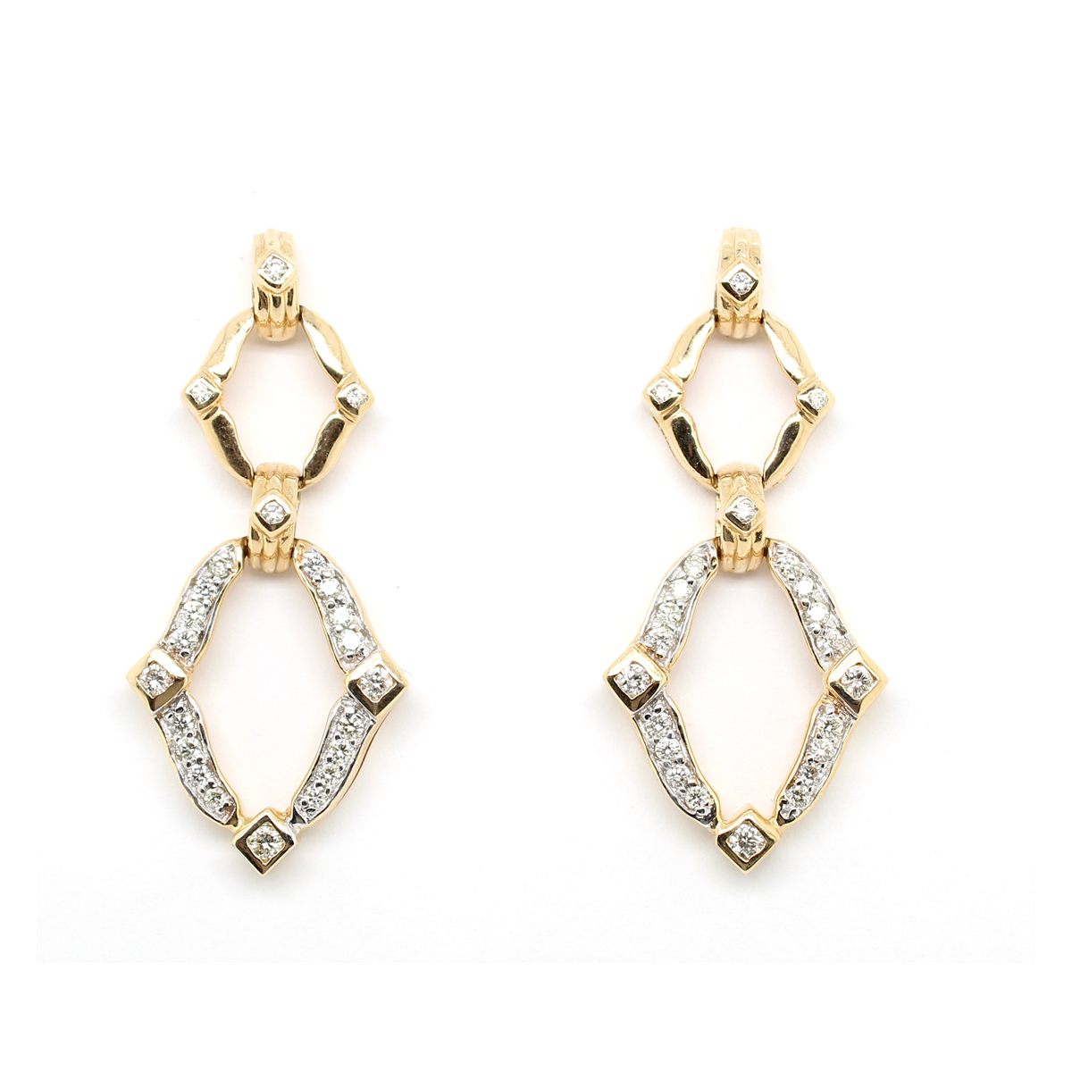 Ryan Gems 14 Karat Yellow Gold Diamond Cutout Dangle Earrings
