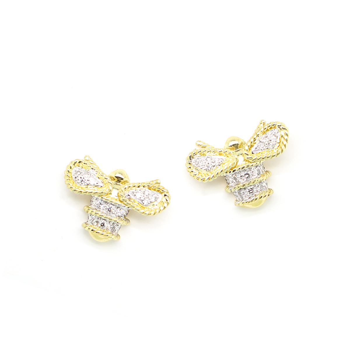 18 Karat Yellow Gold Petite Diamond Bee Button Earrings