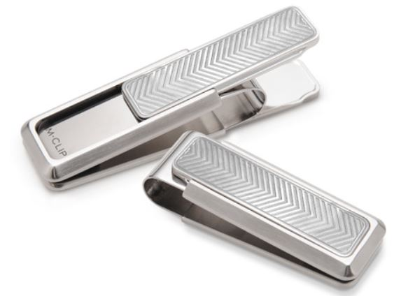 M-Clip Brushed Etched Chevron Money Clip