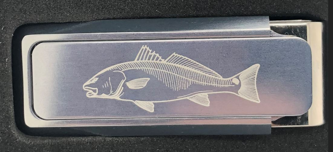 M-Clip Aluminum Etched Redfish Money Clip