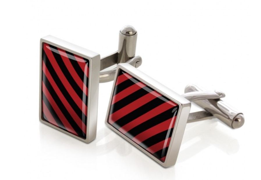 M-Clip Crimson and Black Inlay Cufflinks
