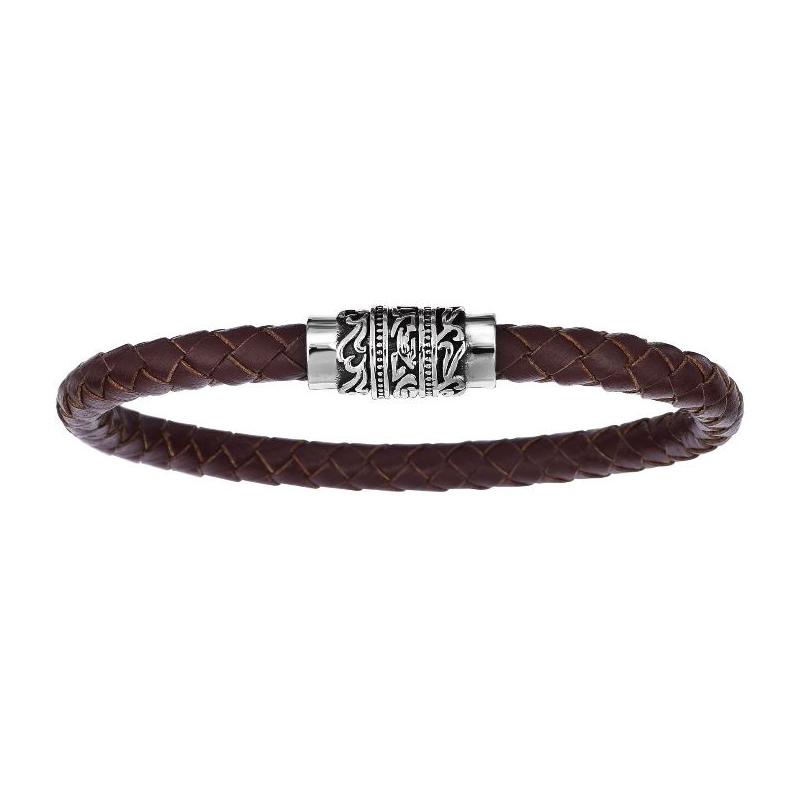 Gentleman's Brown Braided Leather Bracelet