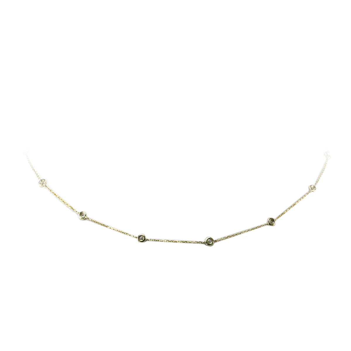 14 Karat Yellow Gold Diamond Station Necklace