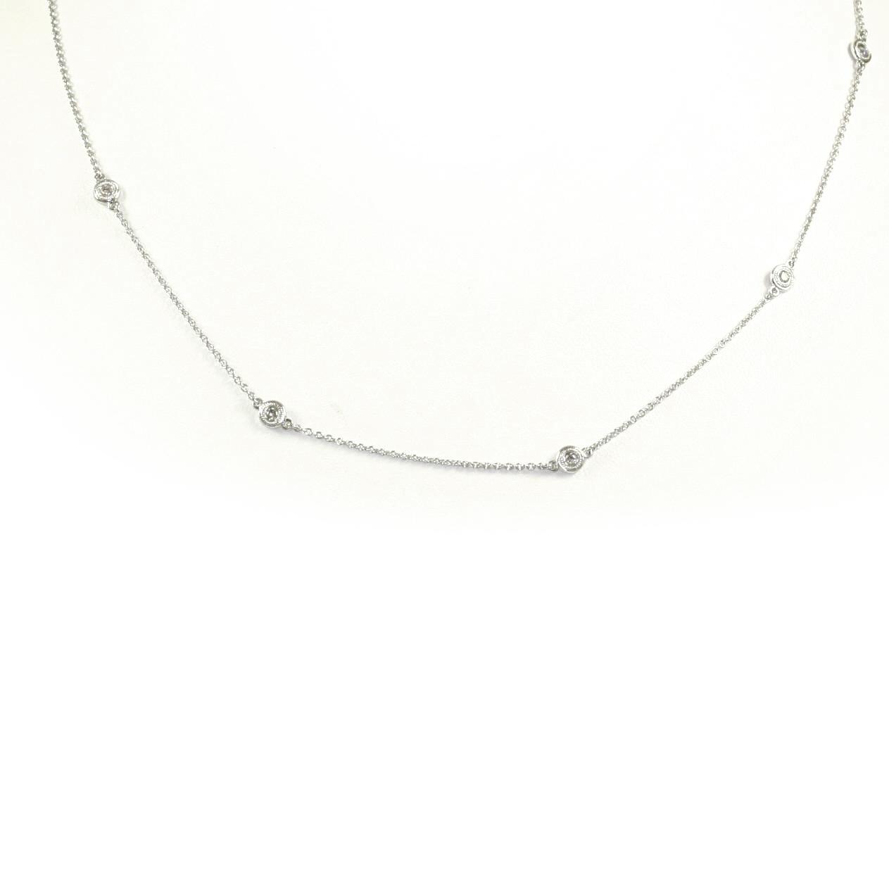 Beny Sofer 14 Karat White Gold Diamond Station Necklace with Milgrain