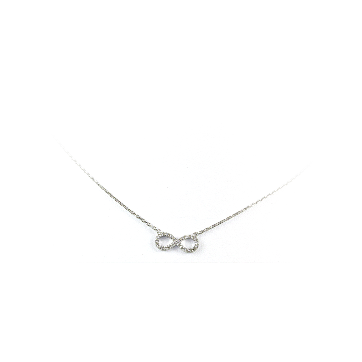 Sterling Silver Multi Diamond Infinity Necklace