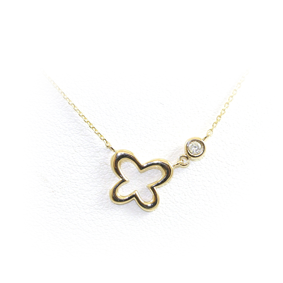 14 Karat Yellow Gold Open Clover Diamond Necklace