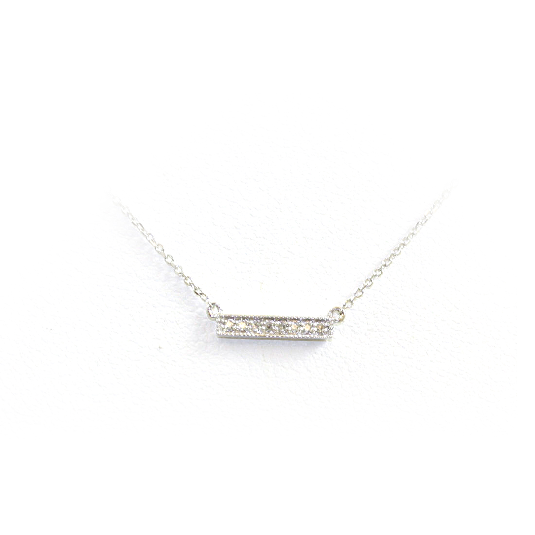 14 Karat White Gold Diamond Bar Pendant Necklace