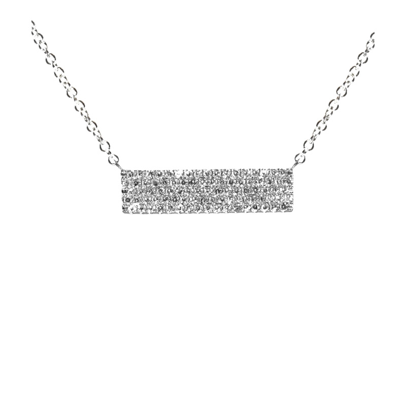 14 Karat white gold and diamond bar pendant suspended on an attached adjustable oval link chain with lobster clasp.