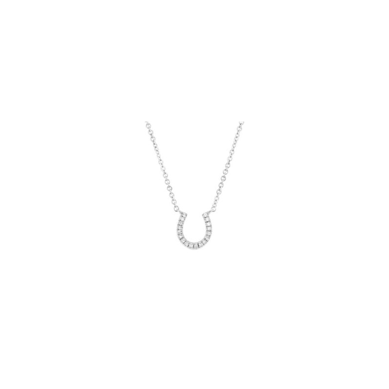 14 Karat white gold and diamond horseshoe pendant suspended on an attached adjustable oval link chain with lobster clasp.