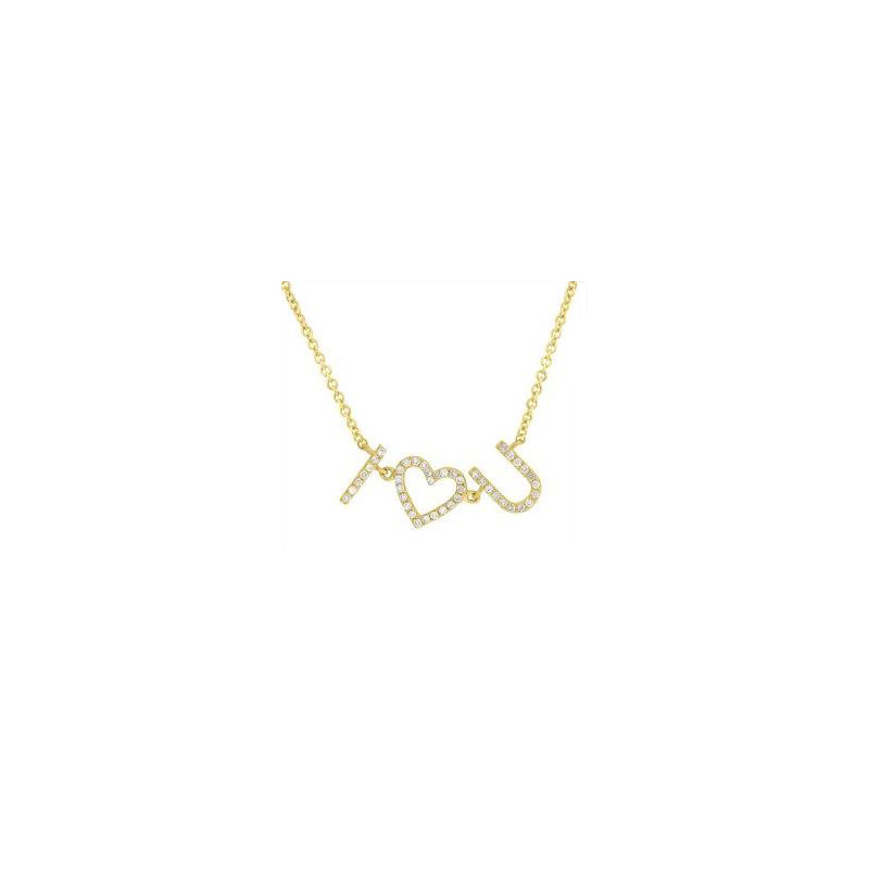 "14 Karat yellow gold and diamond I ""heart"" you pendant suspended on a round link chain 18"" long adjustable to 15""."