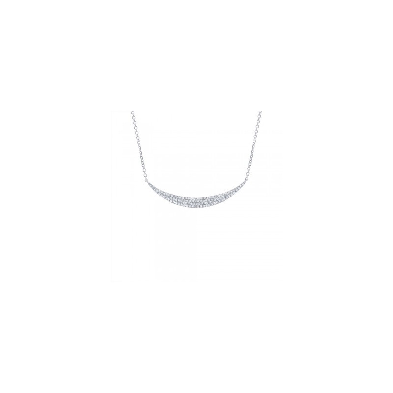 14 Karat white gold and diamond crescent necklace.