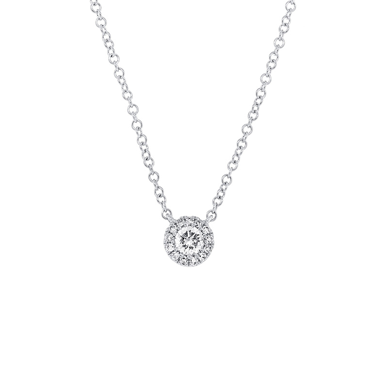 14 Karat white gold and diamond pendant.