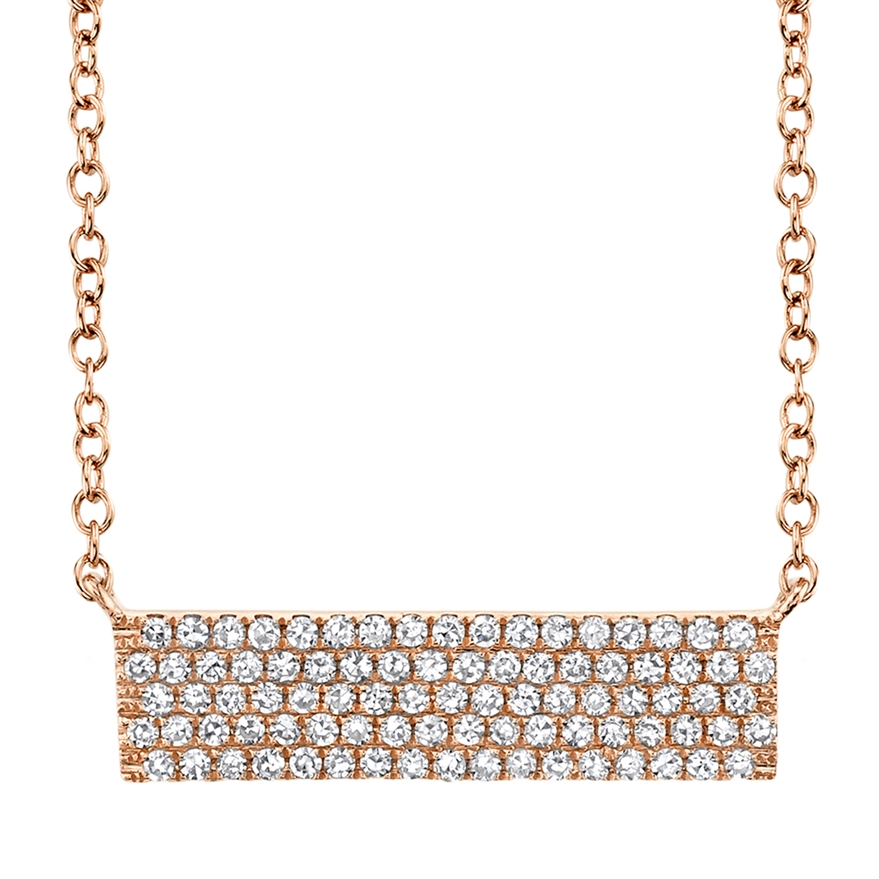 14 Karat Rose Gold Diamond Bar Pendant Necklace