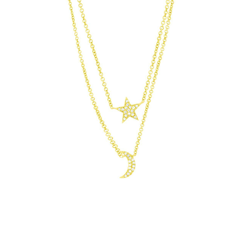 "14 Karat yellow gold and diamond moon and star necklace suspended by a round link chain measuring 18"" long adjustable to 15""."