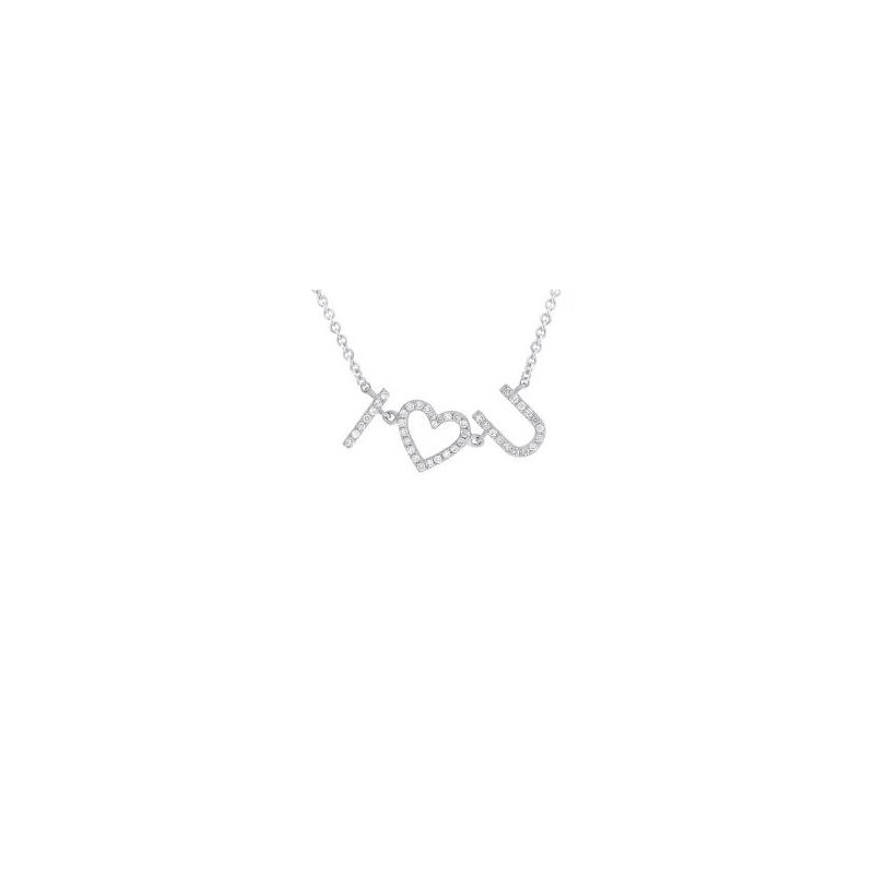 "14 Karat white gold and diamond I ""heart"" you pendant suspended on a round link chain 18"" long adjustable to 15""."