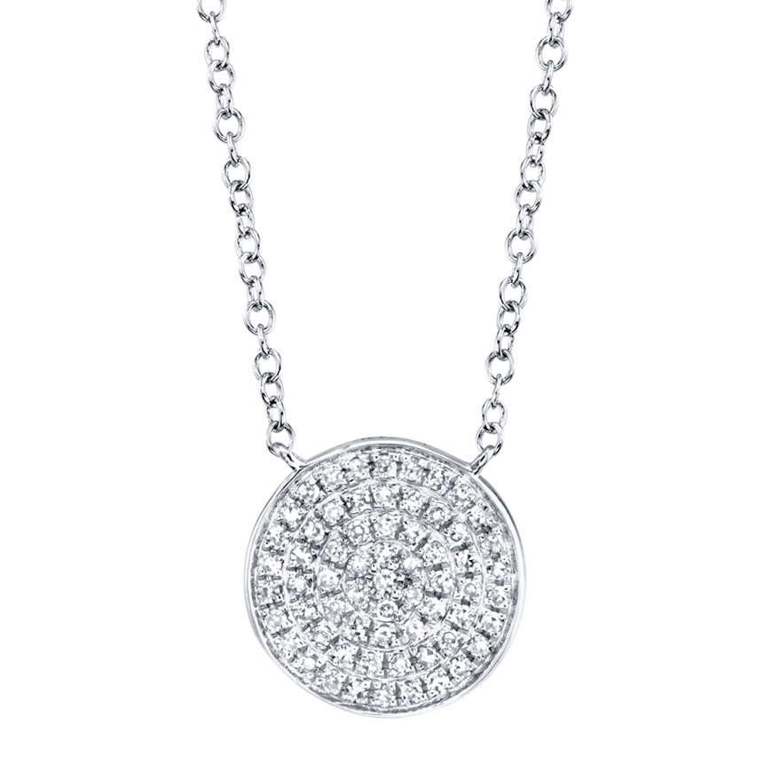 14 Karat White Gold Diamond Circle Necklace