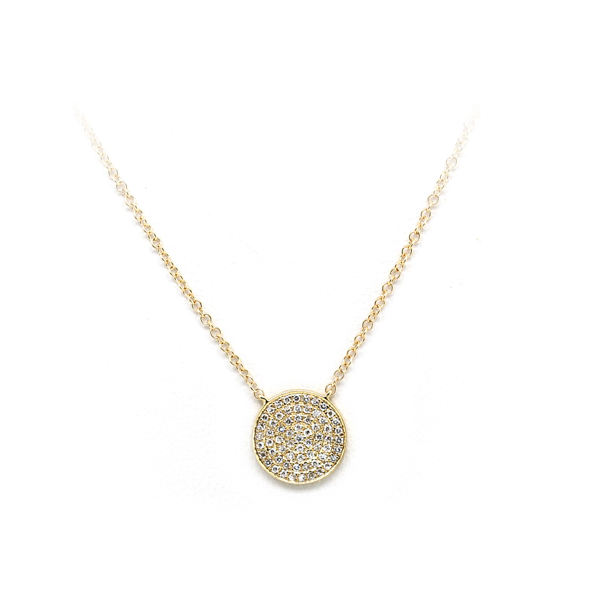 14 Karat Yellow Gold Diamond Circle Necklace