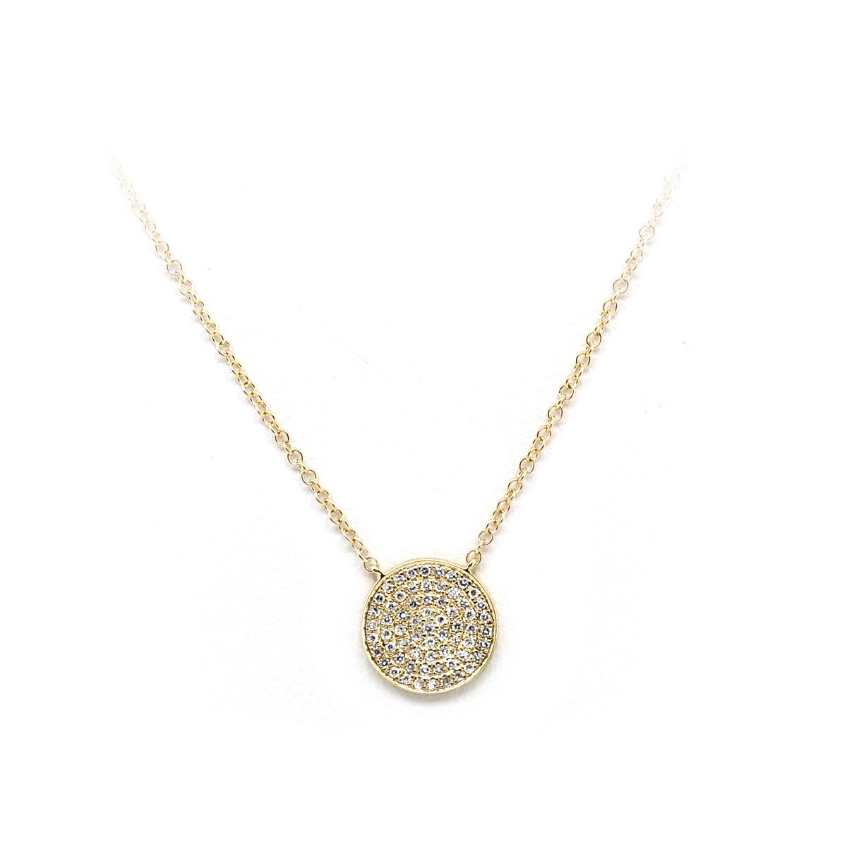 14 Karat Yellow Gold Diamond Circle Necklace