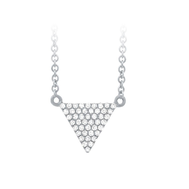 14 Karat White Gold Diamond Triangle Necklace