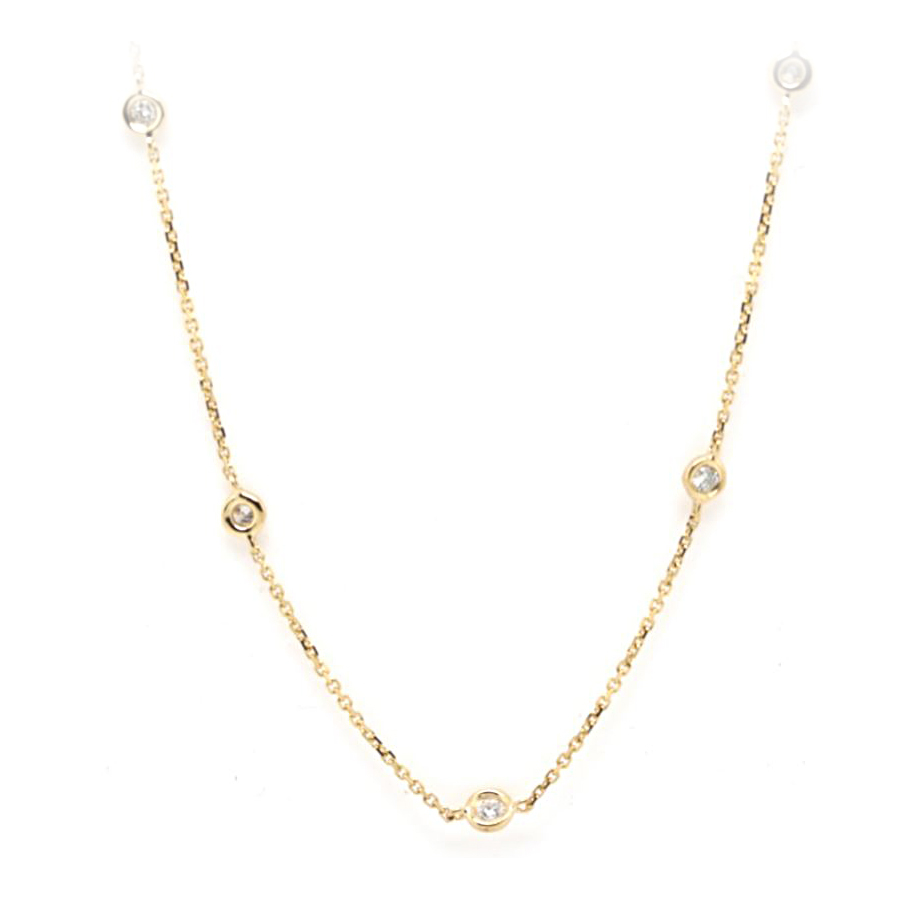 14 Karat Yellow Gold Diamond Station Necklace