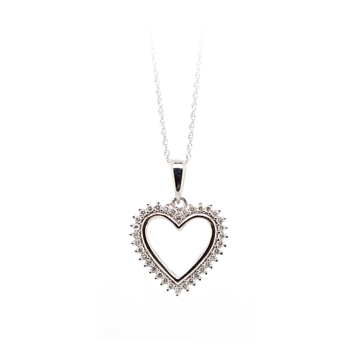 10 Karat White Gold Diamond Cutout Heart Pendant Necklace