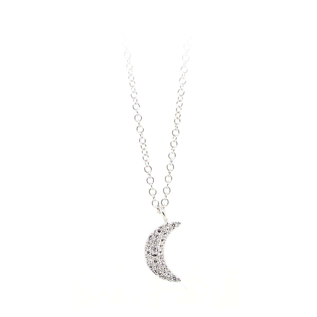 14 Karat White Gold Diamond Crescent Moon Necklace