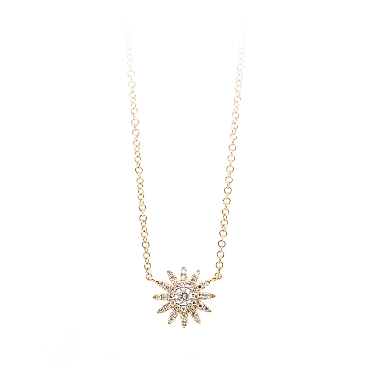 14 Karat Yellow Gold Diamond Starburst Necklace