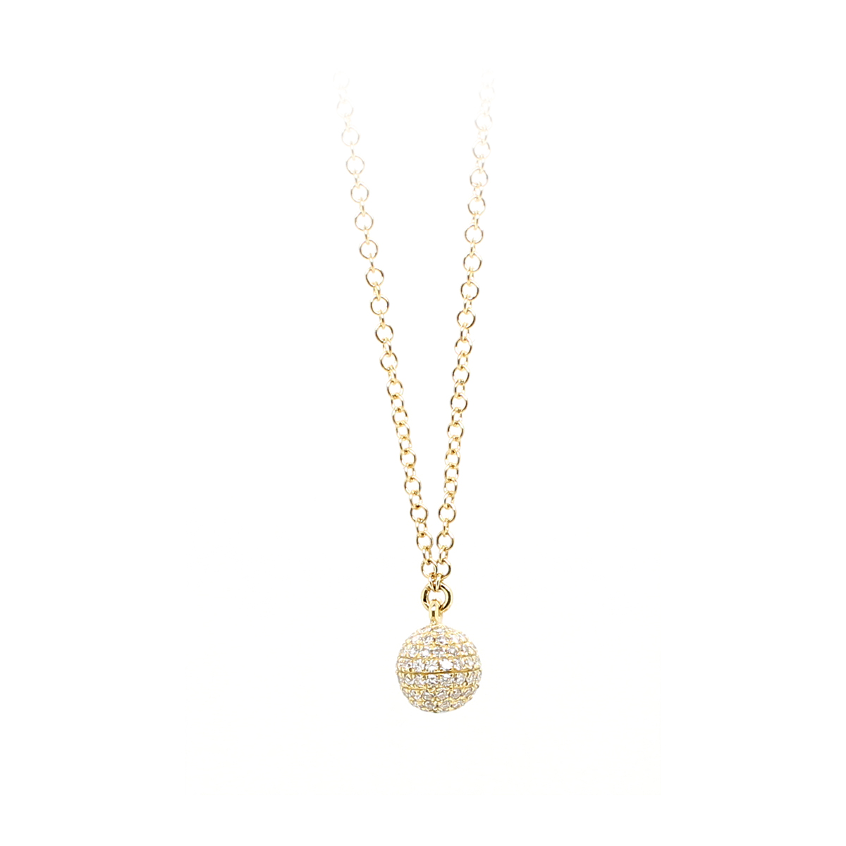 14 Karat Yellow Gold Diamond Ball Necklace