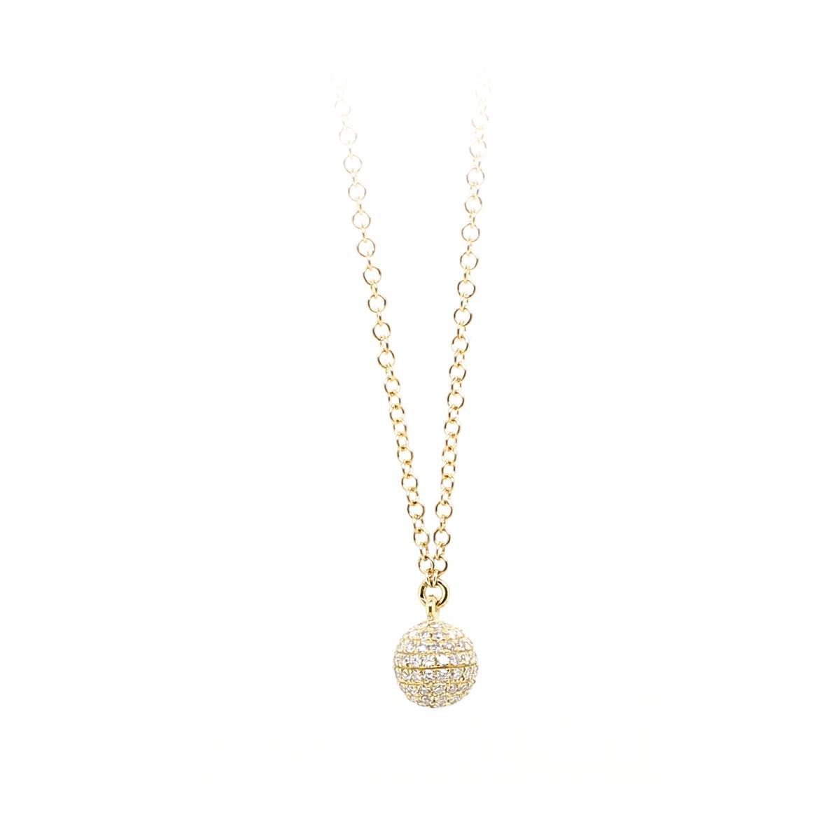 14 Karat Yellow Gold Diamond Ball Necklace